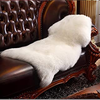 HLZDH Faux Lammfell Schaffell Teppich Kunstfell Dekofell in Super weich Lammfellimitat Teppich Longhair Fell Optik Nachahmung Wolle Bettvorleger Sofa Matte (90 X 60 cm, Weiß)