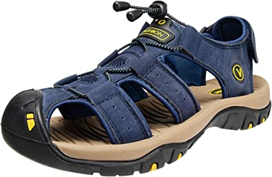 KEENPACEMen's Walking Sandals Beach Sandals Leather Closed Toe Summer Shoes For Trekking Hiking Outdoor Sports Gardening Lightweight Comfortable Adjustable