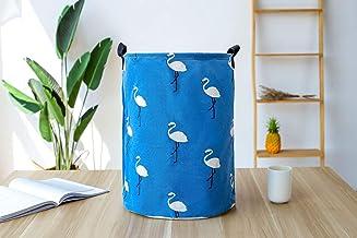 Large Sized Waterproof Coating Cotton Fabric Folding Laundry Hamper Bucket Cylindric Burlap Canvas Storage Basket