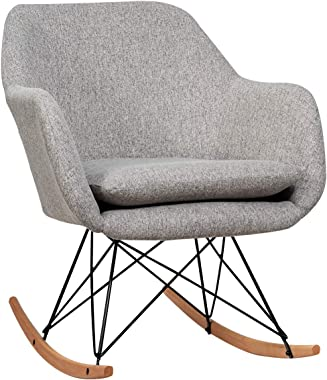 Giantex Accent Rocking Chair with Cushion, Upholstered Rocking Arm Chair w/Solid Steel Wood Leg, Modern Rocker Chair for Balc