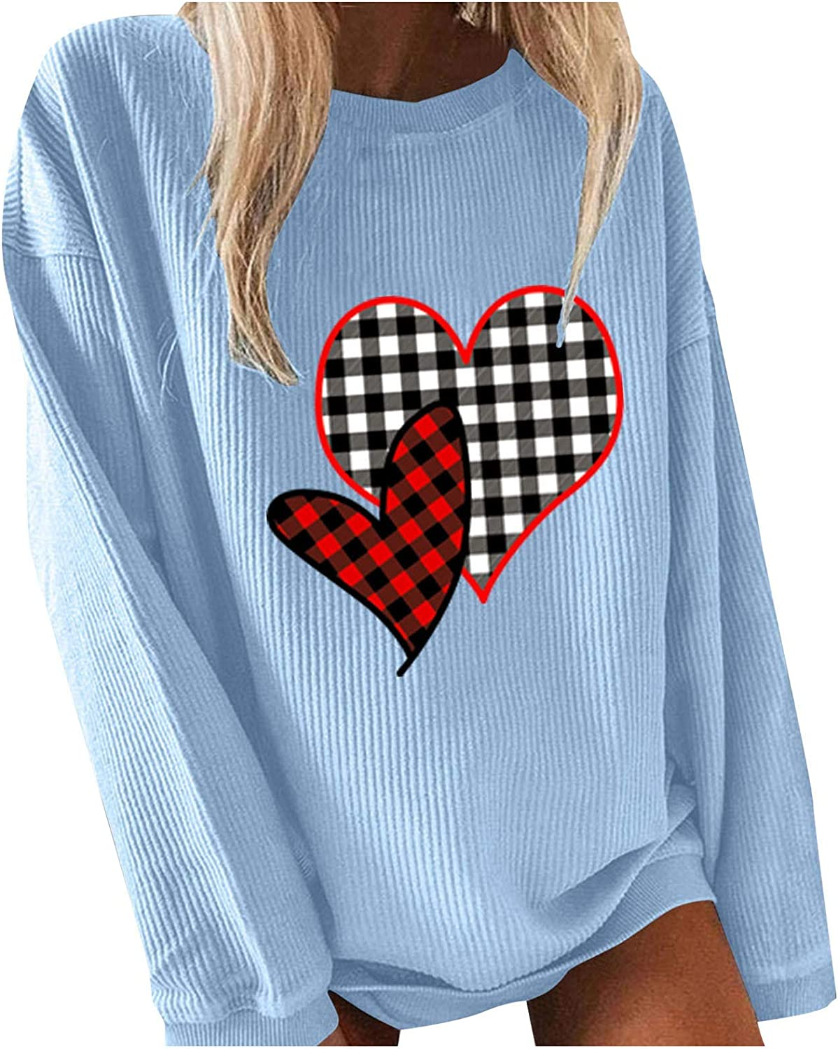Evarend Women's Tops Casual Valentine's Day Pure Heart Print O-Neck Long Sleeves Thermal Pullover Sweatshirt Blouse Tops