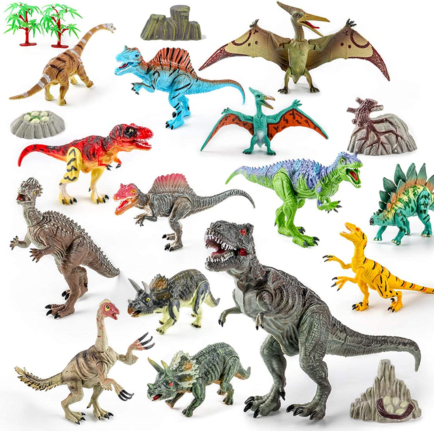 HMANE 20Pcs Dinosaur Figures Simulation Plastic Dinosaur Playset Model Toy Early Education Cognition Playset for Ages 3 and Up