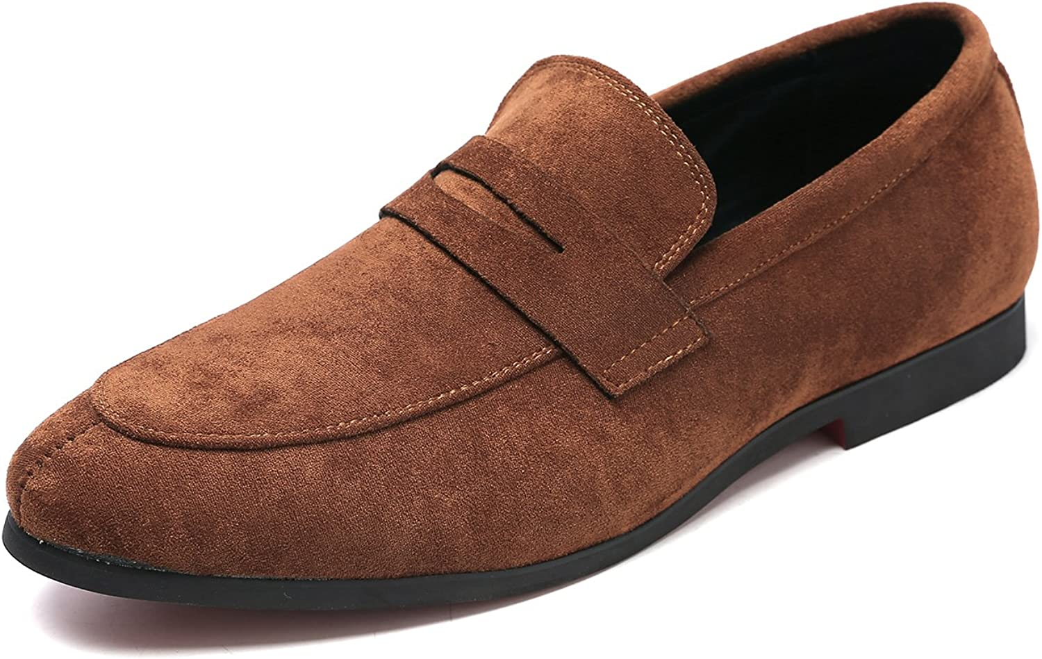 Andy J.K. Men's Tuxedo Slip-On Penny Loafer Classic Suede Leather Driving Dress shoes Round Toe Moccasin