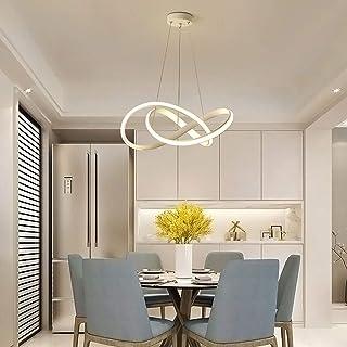 Lámpara colgante Trefoil Shape LED, moderna, creativa, regulable, 3500 K hasta 6000 K, anillo de aluminio, para salón, despacho, oficina, comedor, dormitorio, etc. (color blanco)