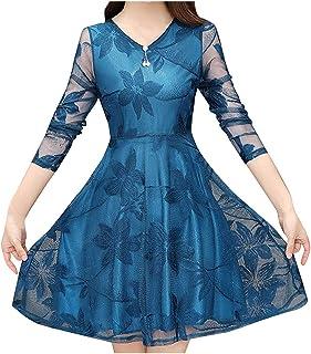 Damen Elegant Transparent Ärmel Floral Spitze Cocktail Kleid Frauen Casual Blusenkleid Kleider Partykleid Abendkleid Frauenkleid Inawayls