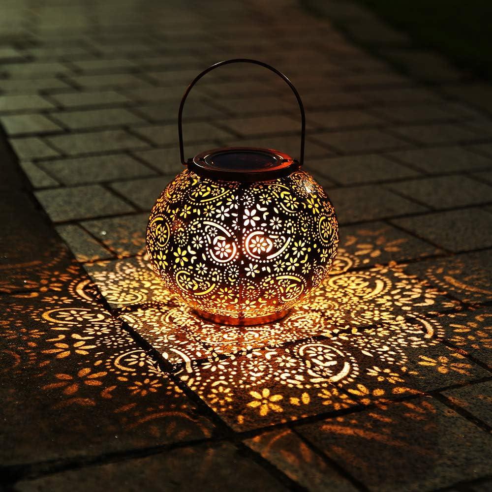 Infankey Solar Lantern Outdoor Hanging Lights Decorative Garden Lights IP65 Waterproof Metal Table Lamp for Garden, Yard, Tabletop, Patio, Lawn(White)