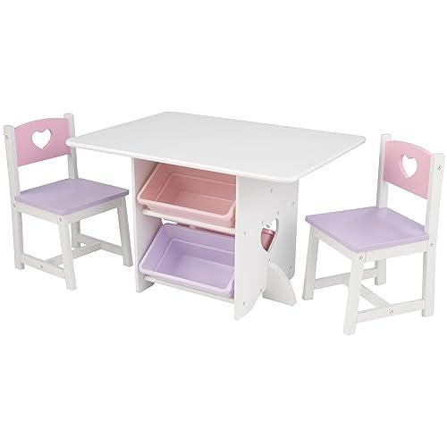 KidKraft 26913 Juego infantil de mesa y 2 sillas de madera con diseño corazón, muebles