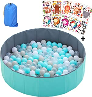 IRuiYinGo Kids Ball Pit - Folding Portable Baby Play Ball Pool, No Need to Inflate Stable Ball Pit for Toddler, More Than 12 Sq.ft Play Space, Balls Not Included