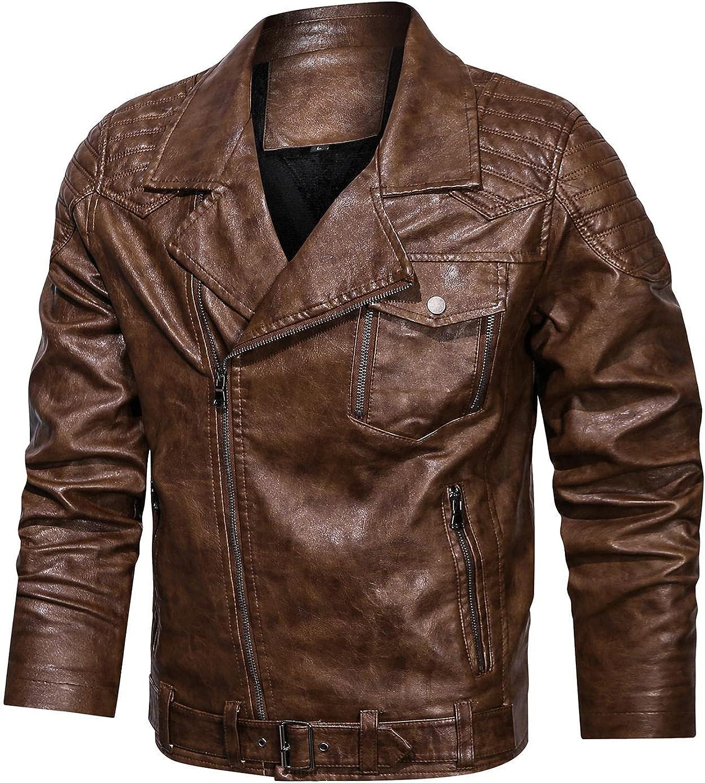 Jacket for Men's Leather Coat Autumn Winter Baseball Sport Uniform Long Sleeve Zip-Up Motorcycle Bomber Jacket