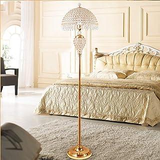ACMHNC Lampadaire en Cristal, Lampadaire Sur Pied Salon Dimmable avec Télécommande, E27 Doré Lampe Plancher avec Cristal A...
