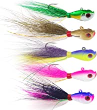 SILANON Fishing Lures Bucktail Jig Fluke - 5PCS Fishing Baits Kit Assorted Jig Surf Fishing for Black Bass, Ling Cod, Bluefish and Sharks Saltwater Freshwater