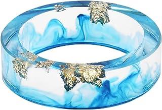 Kingfishertrade-ltd لون أزرق سماوي يدوي مع ورق ذهبي راتنج شفاف/خاتم سحر من البلاستيك للنساء/الرجال، يأتي مع صندوق هدايا