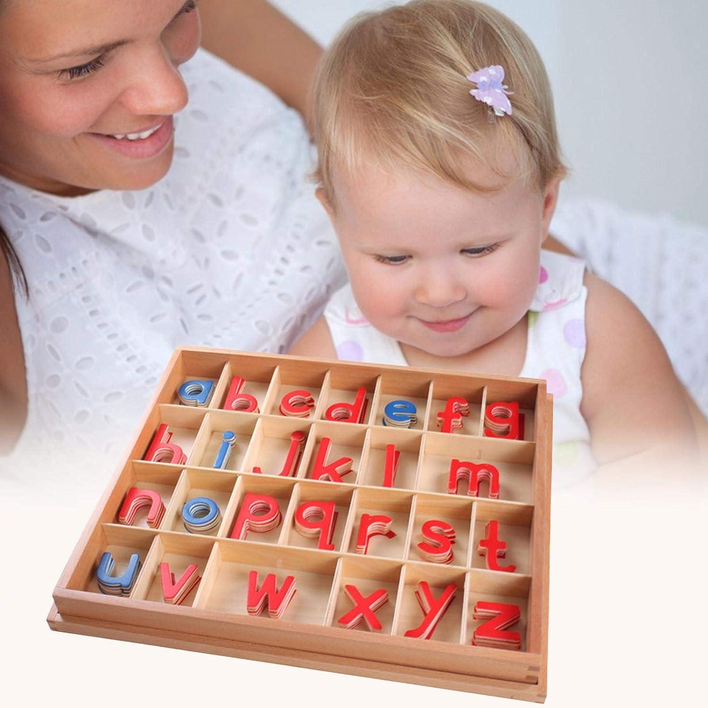 Montessori Holz bewegliches Alphabet mit Box Sprachunterricht Materialien Fr/ühp/ädagogisches Lernspielzeug f/ür Kinder Rechtschreibung und Lernen