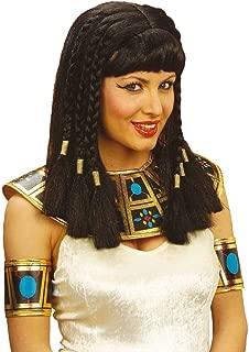 4190 Parrucca Cleopatra Egiziana Regina Del Nilo Liscia Nera Frangia Carnevale