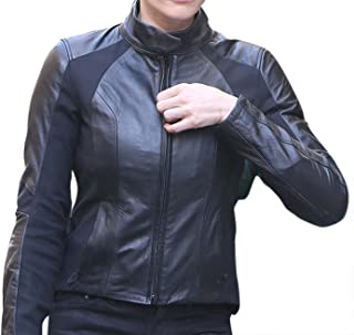 CHICAGO-FASHIONS Womens Slim Fit Black Biker MI Fallout Leather Jacket