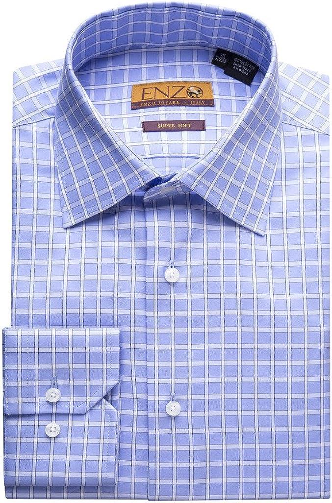 Enzo Mens Overseas parallel import regular item Same day shipping Modern Fit Long Shirt Cotton Sleeve Dress Twill
