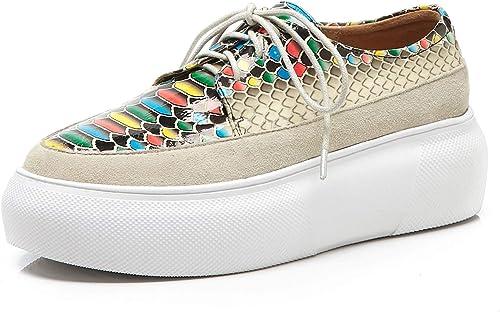YAN zapatos de plataforma de Las mujeres 2019 nuevos zapatos de Deportes de Cuero + Gamuza con Cordones Hauszapatos zapatos Casuales de bajo Nivel de Confort Mocasines zapatos atléticos,B,36