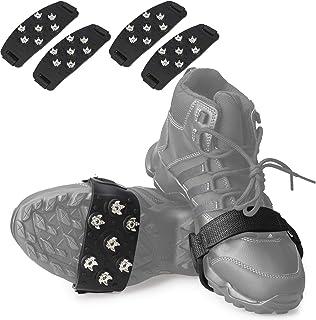FANBX F Crampon Traction Cleats Anti Skid Traction Grips Crampons Spikes 7 نقطه کفش برای کفش برای پیاده روی ، آهسته دویدن ، پیاده روی ، کوهنوردی یخ برف