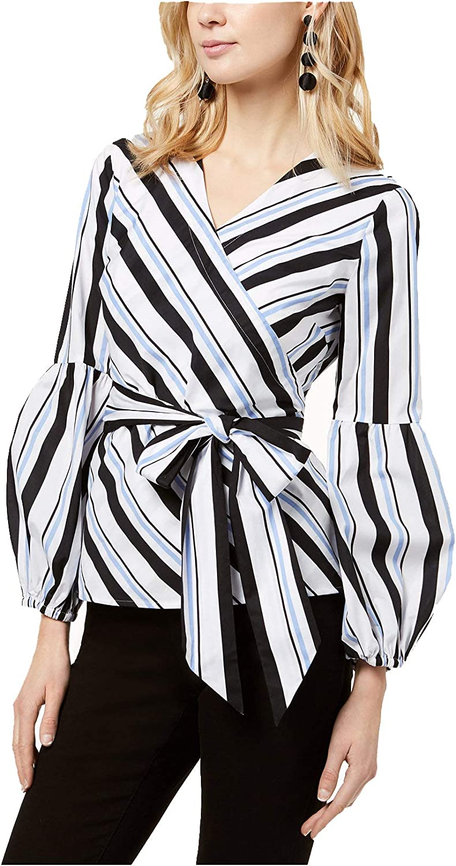 INC International Concepts Women's Striped BubbleSleeve Wrap Top