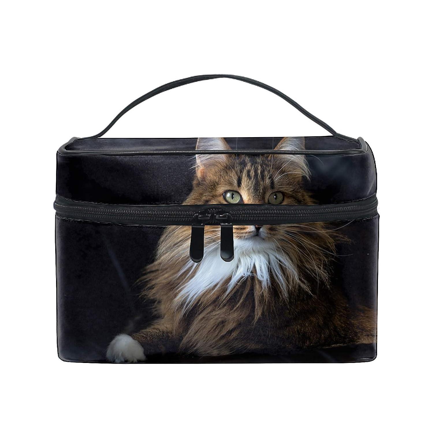 はず陰気系譜便携式メインクーンふわふわ猫ブラウンクーン メイクボックス 收納抜群 大容量 可愛い 化粧バッグ 旅行