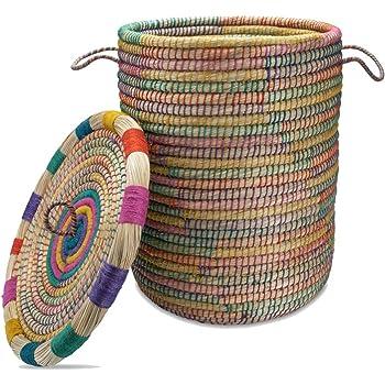 Aufbewahrungskorb mit Deckel petrol Flechtkorb Korb Natur Wäschekorb Fair Trade