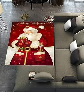 Floor Rugs Mat,Custom Merry christmas Dreamlike the Santa Claus Area Rugs Carpet Modern Carpet for Home Dining Room Playroom Living Room Decoration Size 7'x5'