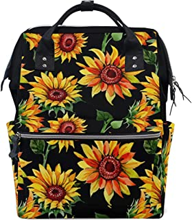 MERRYSUGAR Diaper Bag Backpack Travel Bag Large Multifunction Waterproof Black Sunflower Flower Yellow Stylish and Durable Nappy Bag for Baby Care School Backpack