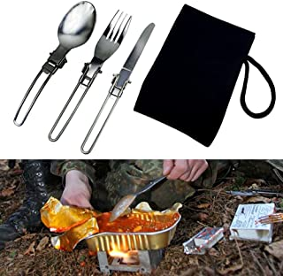 EBILUN Cubiertos plegables de acero inoxidable, 3pcs / set Juego de utensilios Cuchara portátil Tenedor Cuchillo Kit W/Bolsa para acampar Senderismo Picnic