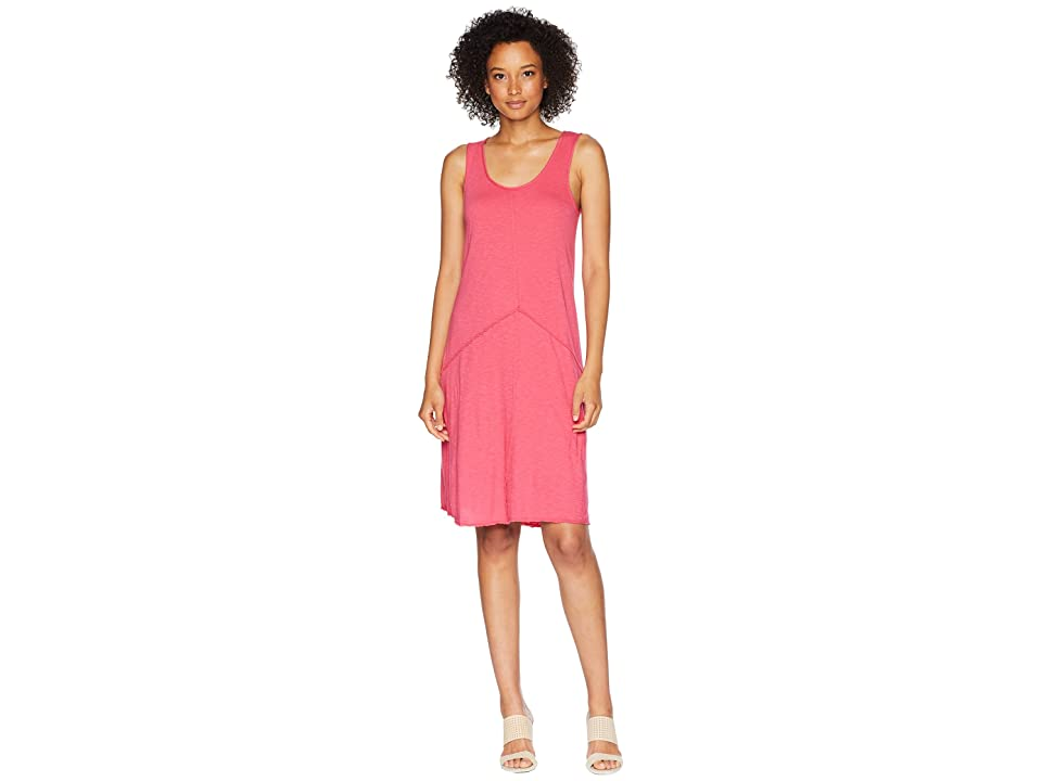 Mod-o-doc Featherweight Slub Jersey Raw Edge Seamed Tank Dress (Desert Rose) Women