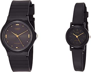 Casio His & Her Black Dial Resin Band Couple Watch [MQ-76-1A LQ-139AMV-1E]