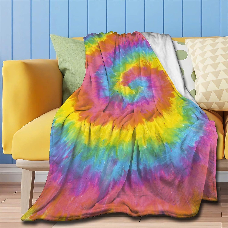 ZHONGKUI Throw Blanket Tie-Dye Super おトク Bed Soft Luxury Sof Flannel 信託
