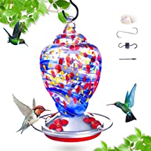 K KERNOWO Hummingbird Feeder for Outdoor,Bird Feeder Hummingbird,Hand Blown Glass Humming Bird Feeder for Outside,Upgraded...
