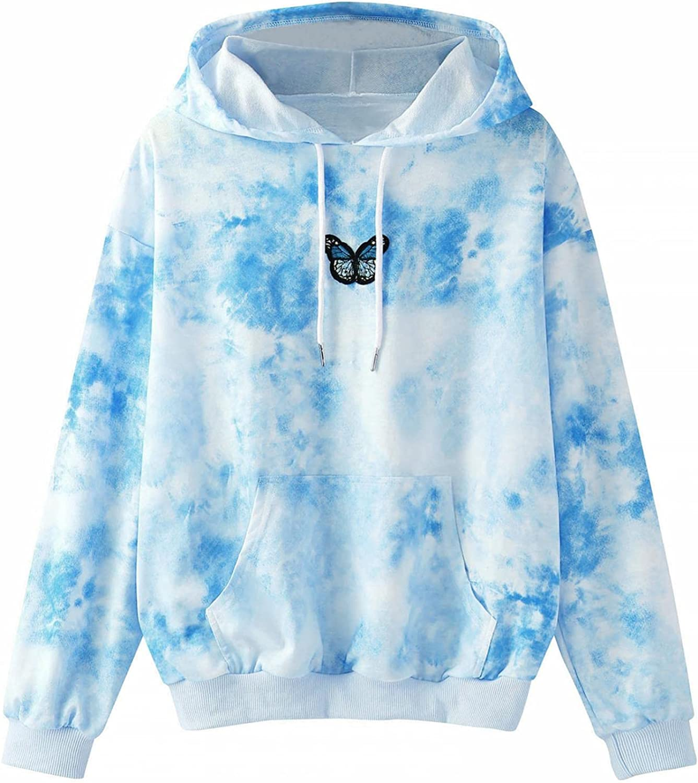 Tops for Women Autumn and Winter Plus Size Women's Sweatshirts Butterfly Tie Dye Printing Long Sleeve Hoodies for Women Tops