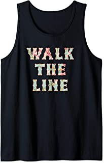 Walk The Line Floral Pattern Outlaw County Music Lovers Tank Top