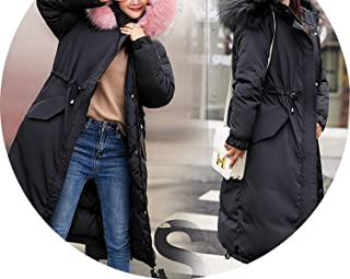 Big Fur Collar Hooded Long Down Coat Winter Thicken Down Cotton Padded Women Down Jacket
