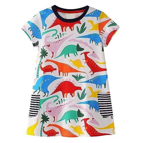 c1088bc9 GSVIBK Kids Cotton Dresses Baby Casual Dress Girls Cute Cartoon Dress  Toddler Dinosaur Dress