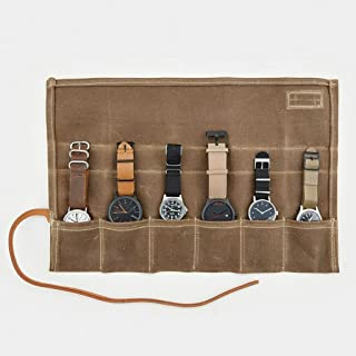 Cool Material Waxed Canvas Watch Roll - Travel Watch Organizer - Holds 6 Watches