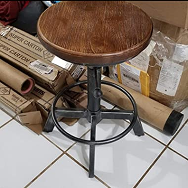 """Industrial Bar Stool-Counter Height Chairs- Swivel Wooden Seat- Adjustable 15.2-21"""""""
