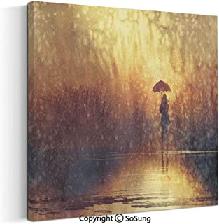 Large Canvas Prints Wall Art Oil Paintings Silhouette of Lonely Woman Under Rain with Umbrella Dramatic Paint Picture Modern Classic Giclee Pictures for Home Decor 30x30inch Light Caramel Yellow