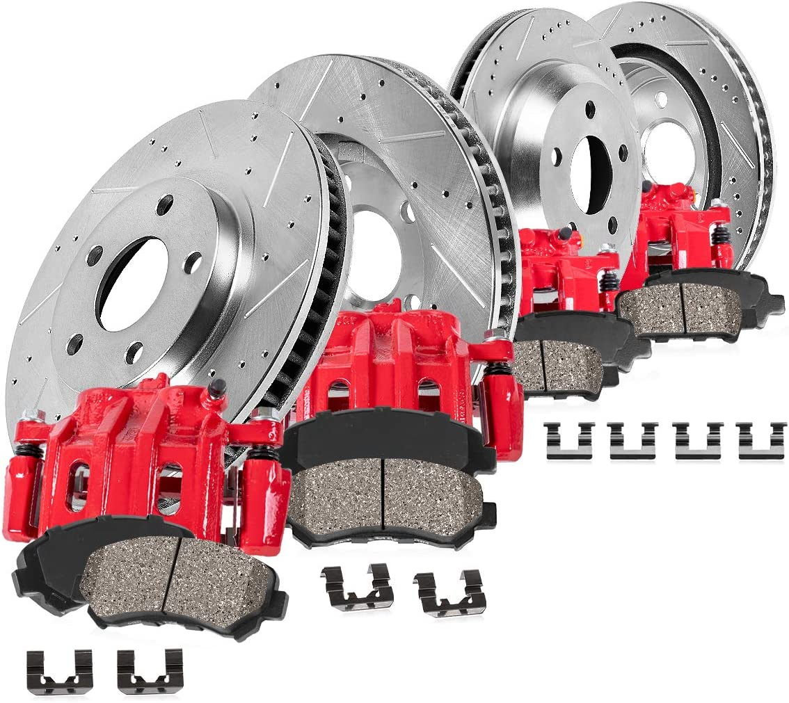 Callahan CCK11970 FRONT + REAR Powder New product!! 2021 autumn and winter new Coated Red 4 Calipers
