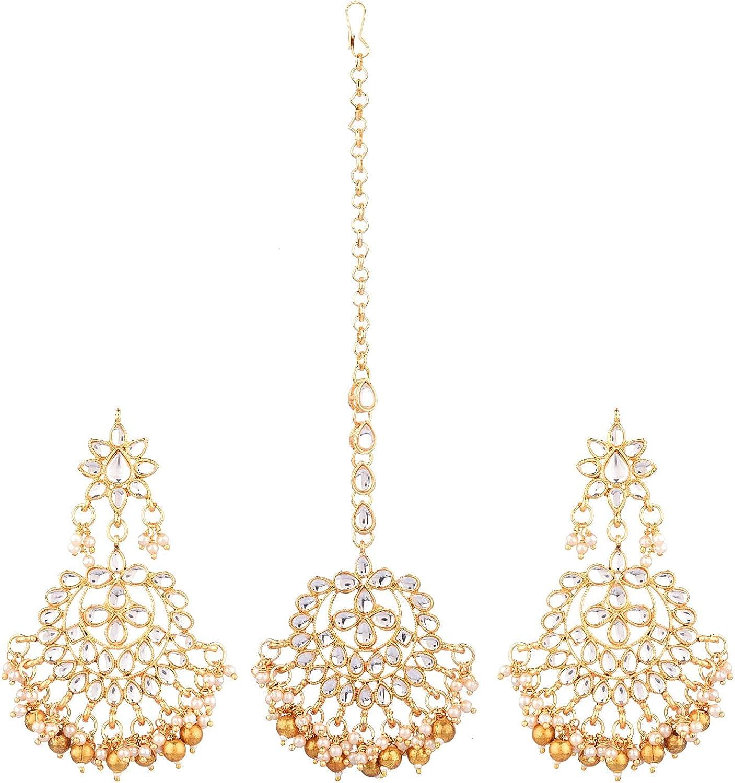 Efulgenz Indian Maang Tikka Earrings Set Bollywood Crystal Kundan Faux Pearl Head Chain Big Dangle Earrings Jewelry Set