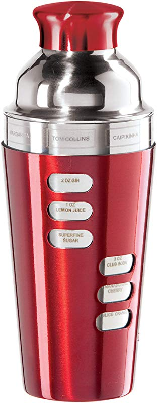 Oggi 7387 2 23 Ounce Stainless Steel Cocktail Shaker Red