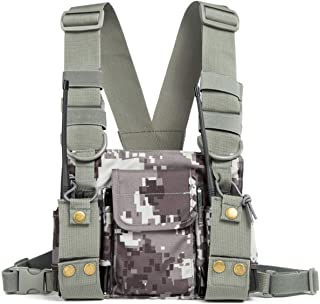 Radio Shoulder Holster Chest Harness Holder Vest Rig for Two Way Radio Chest Front Pack Pouch Walkie Talkie Case with Fron...