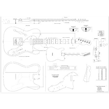 Full Scale Plans for the Fender Telecaster 1969 Thinline Electric Guitar - actual size