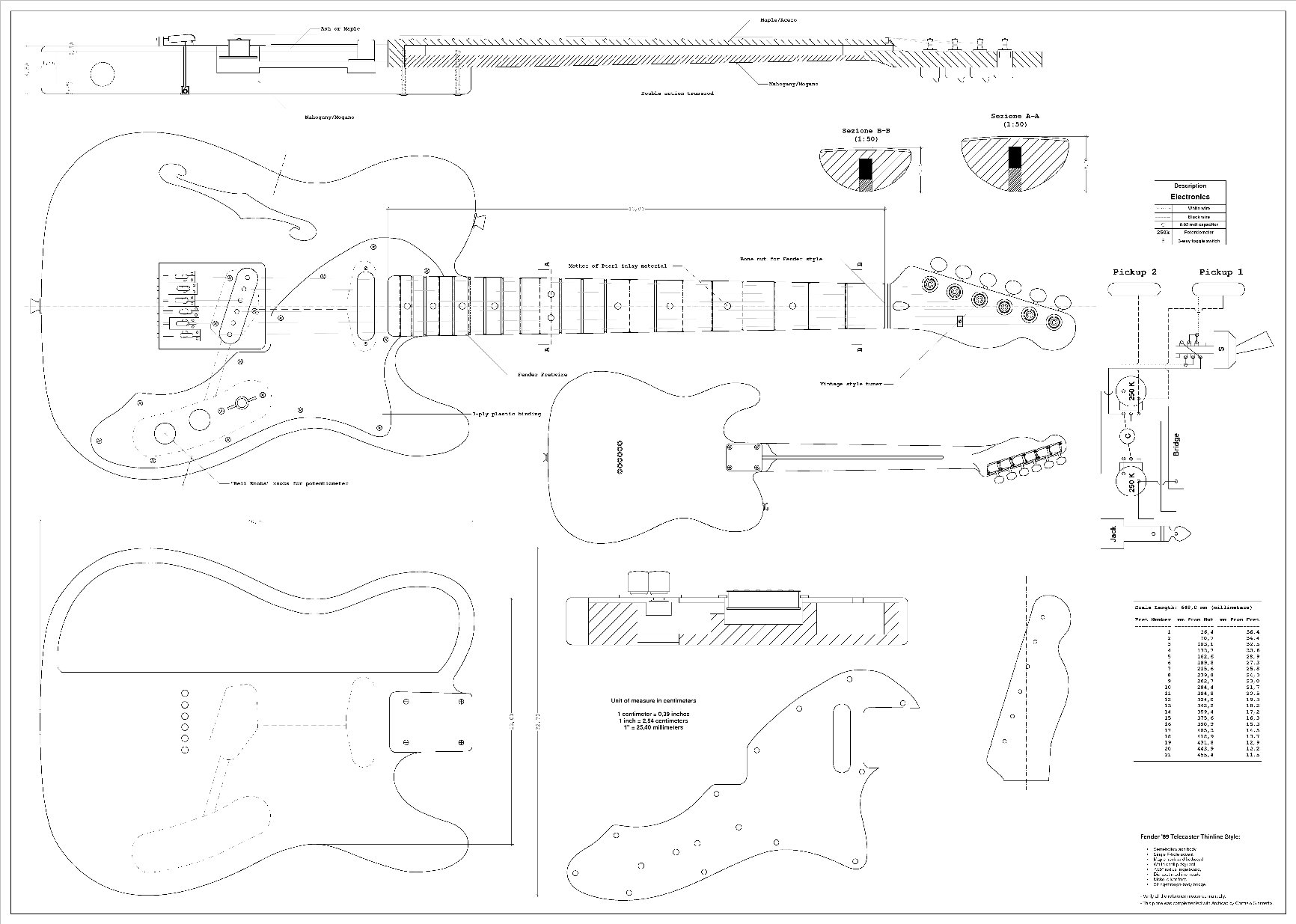 Cheap Full Scale Plans for the Fender Telecaster 1969 Thinline Electric Guitar Black Friday & Cyber Monday 2019