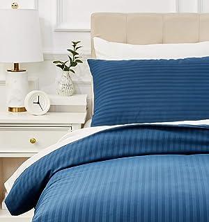 Amazon Basics - Juego de ropa de cama con funda nórdica de microfibra y 1 funda de almohada - 135 x 200 cm, azul marino