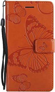 CUSKING Case for Samsung Galaxy J5 Prime, Leather Flip Cover Magnetic Wallet Case with Butterfly Embossed Design, Case with Card Holders and Kickstand - Orange