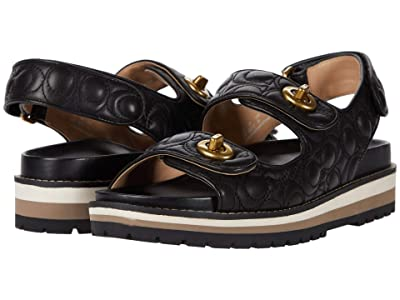 COACH Kacie Sandal (Black Quilted Leather) Women