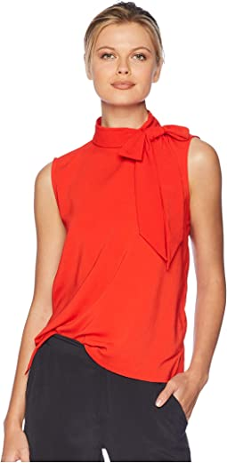 Sleeveless Satin Back Texture Tie Neck Blouse