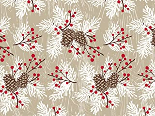Woodland Berries Pine Sprigs Kraft Holiday Wrapping Paper - 24 Inches x 15 Feet Roll